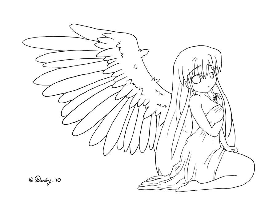 Line Art Angel : Fallen angel lineart by mustachieperson on deviantart