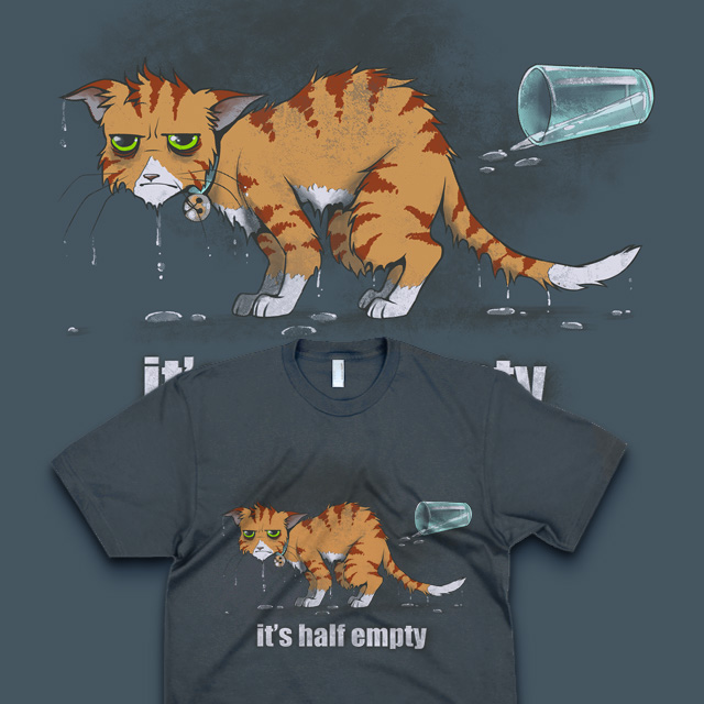 Kitty is Wet - T-shirt Design by merely-A
