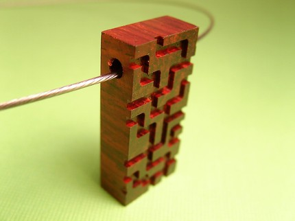 Engraved Cocobolo Wood Pendant by Men-koi