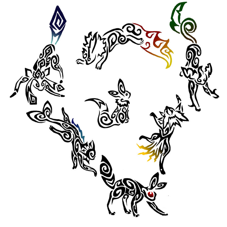 New Tribal Eeveelutions by PorridgeBeast