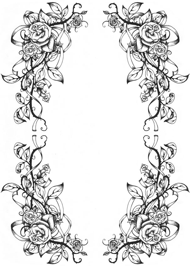 Flower Frame Line Drawing : A rose border by dreamangelkristi on deviantart