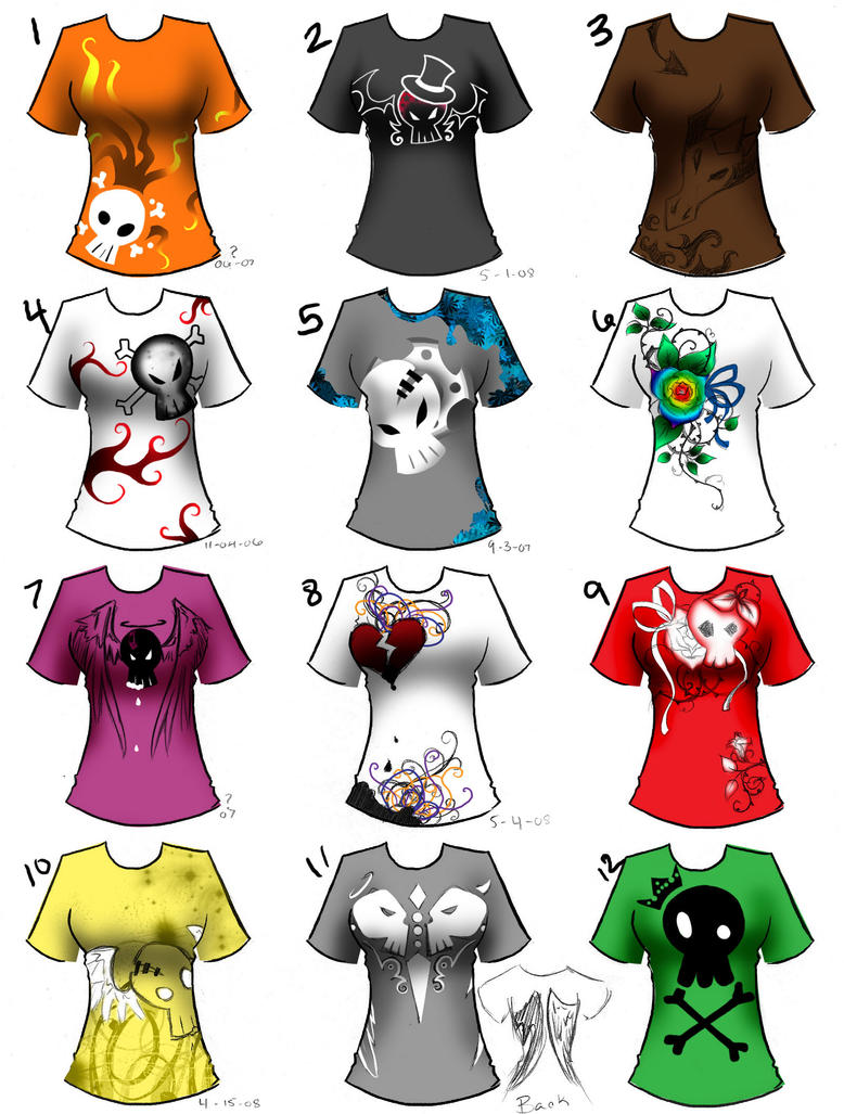 shirt designs - set 01 by dreamangelkristi