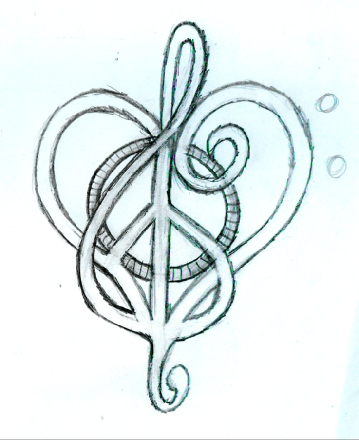 music tattoos. Peace Love and Music - Sketch