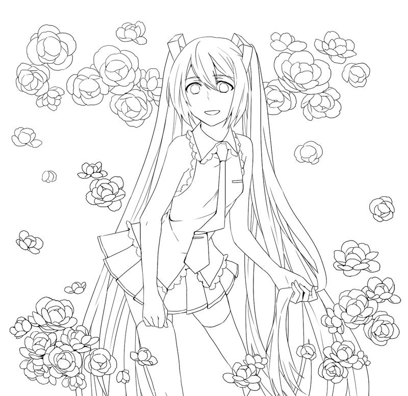 Lineart Miku By Catgirl0926 On Deviantart Hatsune Miku Coloring Pages