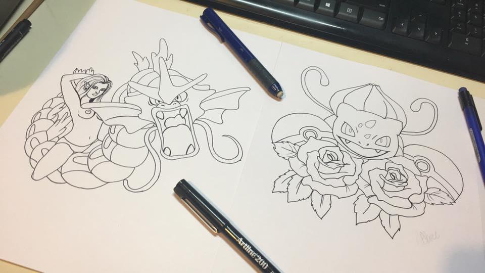 Gyarados And Bulbasaur Tattoo Design by ally6sixx
