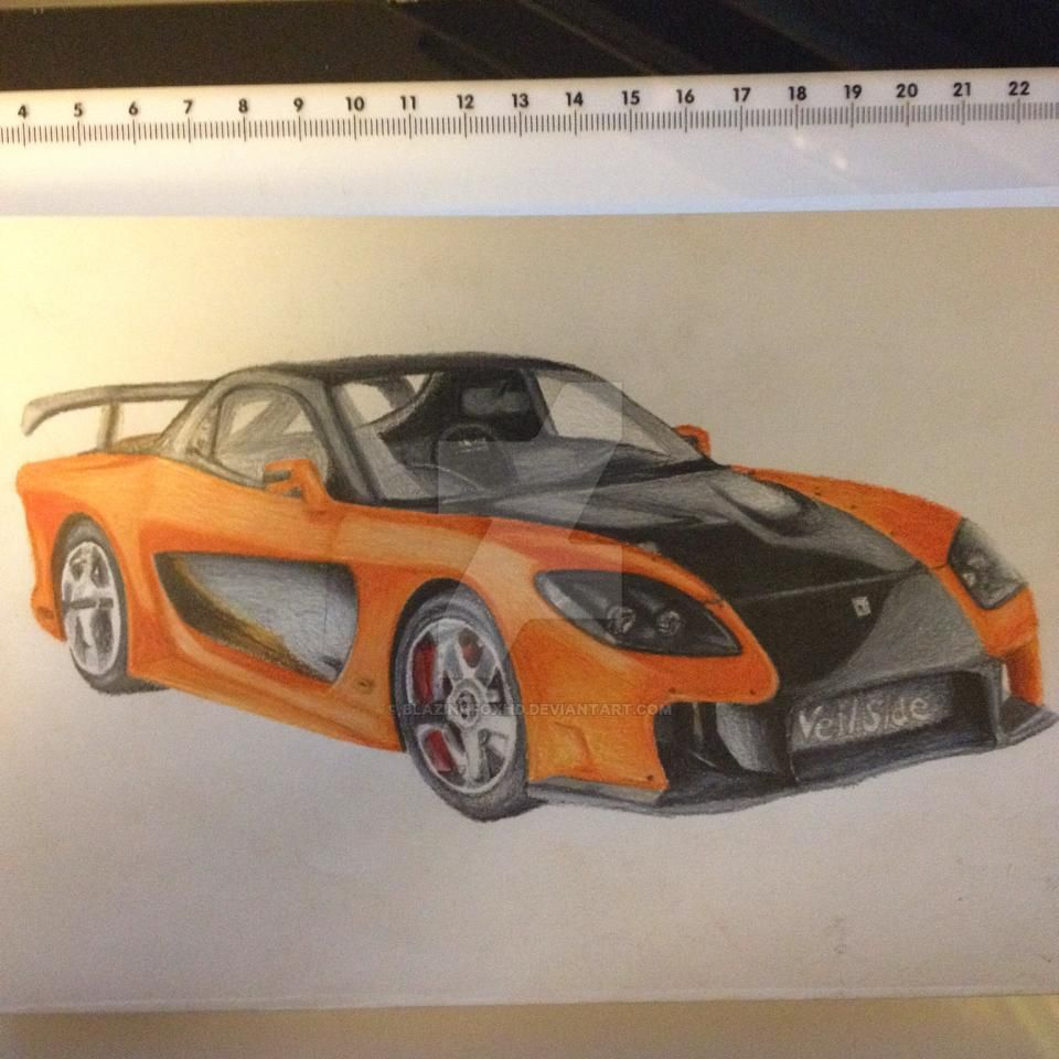 how to draw a mazda rx7 veilside