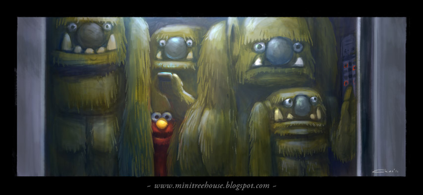 Claustrophobic Elmo by minitreehouse