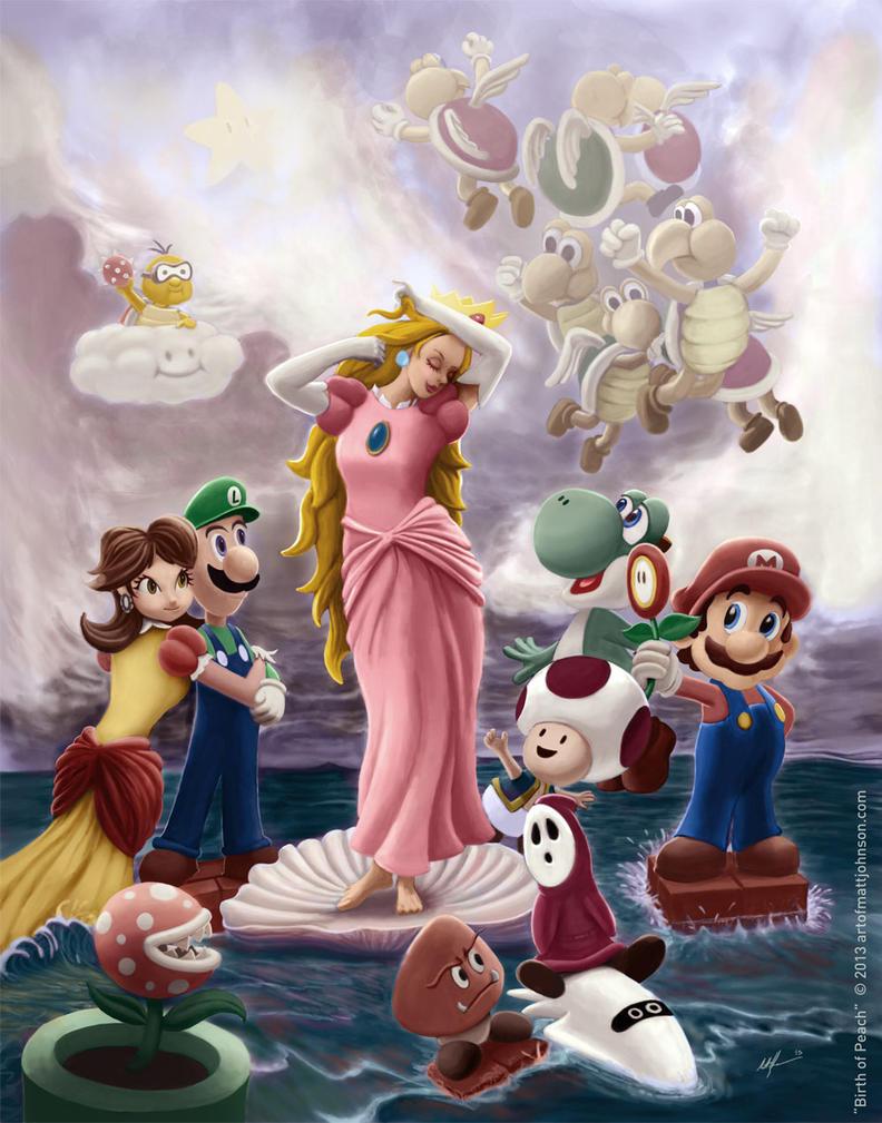 Birth of Peach - Nintendo Mario Brothers Fan Art by ceramicmatt