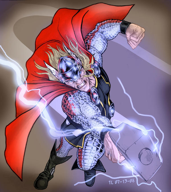 Thor swinging Mjolnir by DragonArcher