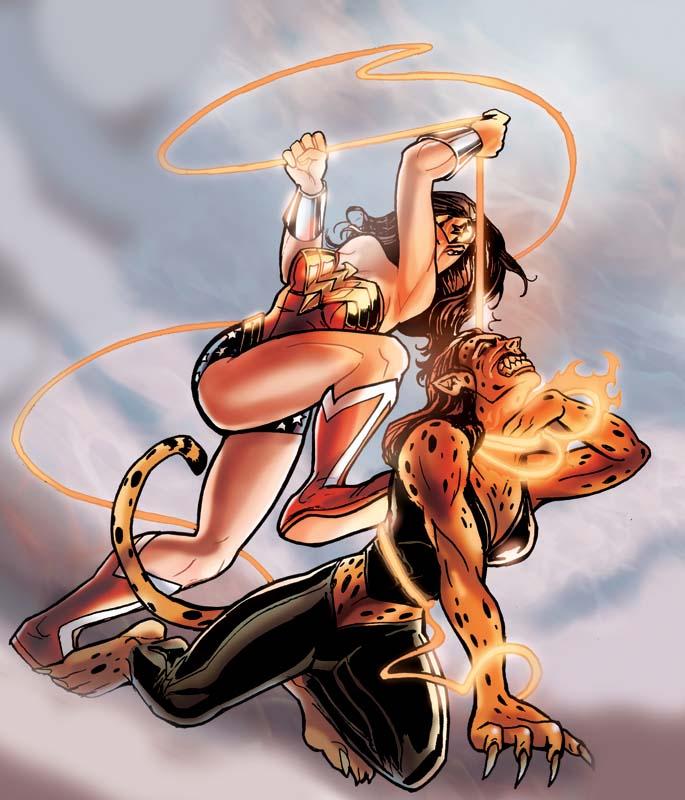 Wonder Woman Lassoing Cheetah by DragonArcher