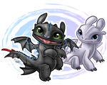 Baby Toothless and Light Fury