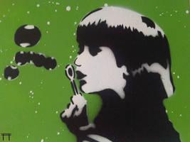 Bubble Girl Green by GateGraffiti