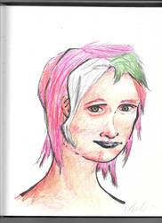 random color pencil portrait