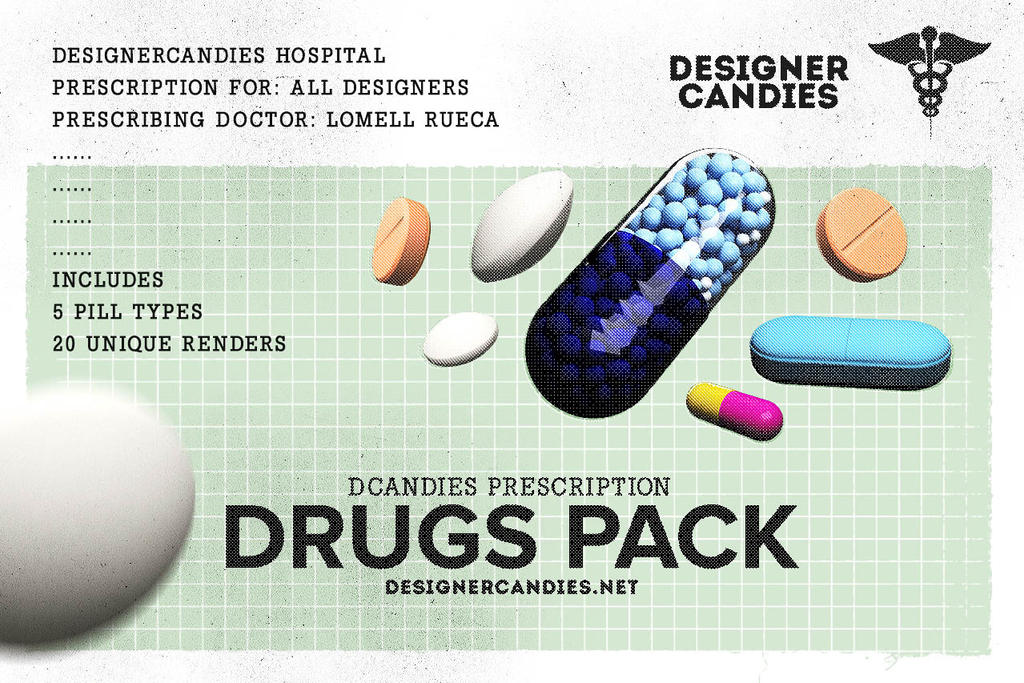 Drug Renders Pack Capsules Tablets and Pills