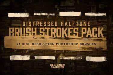 21 Distressed Halftone Brush Strokes by DesignerCandies