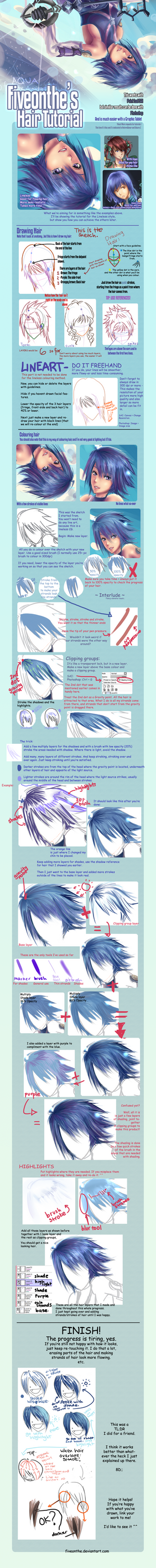 Lineless hair CG tutorial by Fiveonthe