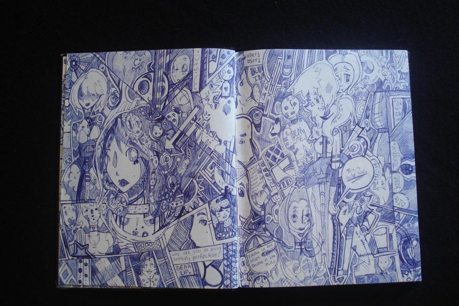Blue Ink Book Page by Silanceemikki