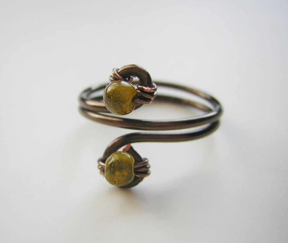 Wire Ring Beads: Bronze Wire Wrapped Ring With Green Beads (Size 8) By