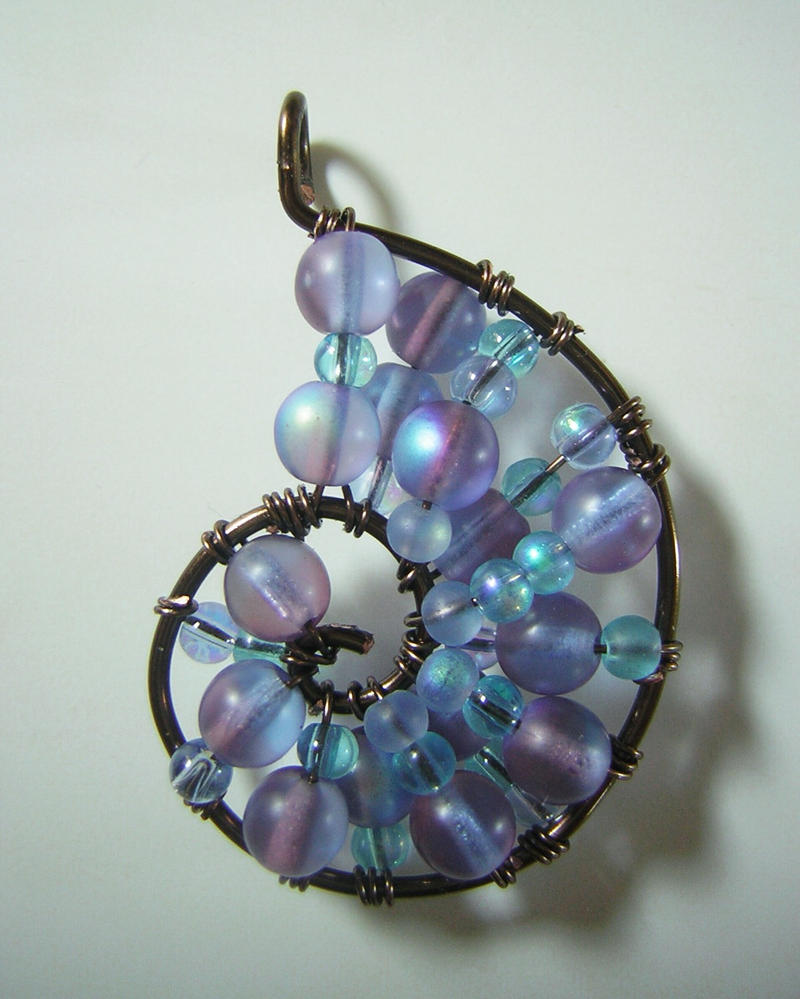 Blue and purple wire wrapped seashell pendant by rachaelswiregarden aloadofball Choice Image
