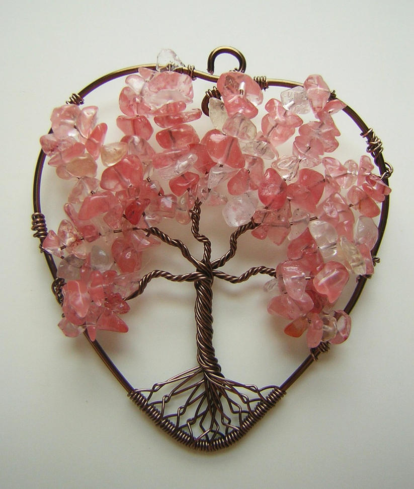 Pink Heart-Shaped Tree of Life *TRADED* by RachaelsWireGarden
