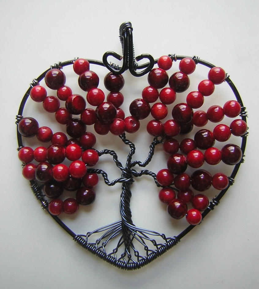 Red Heart-shaped Tree of Life by RachaelsWireGarden