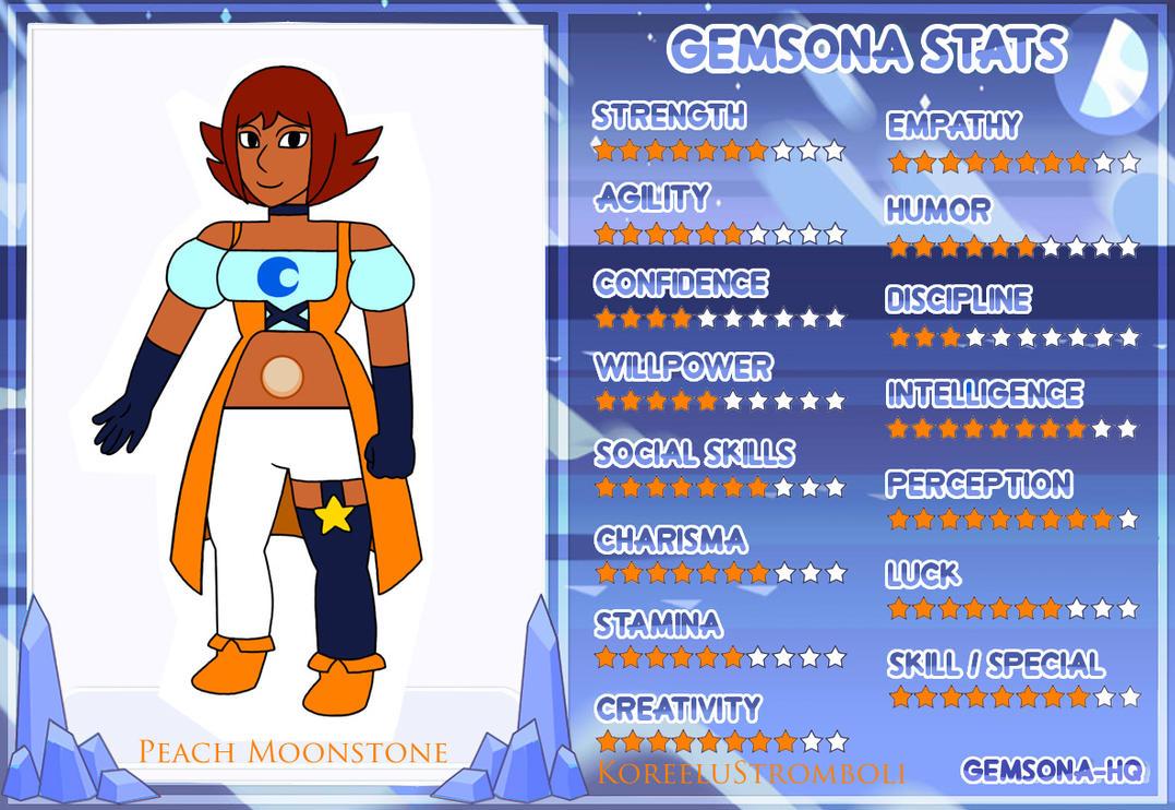 Gemsona Stats: Peach Moonstone (Updated) by KoreeluStromboli