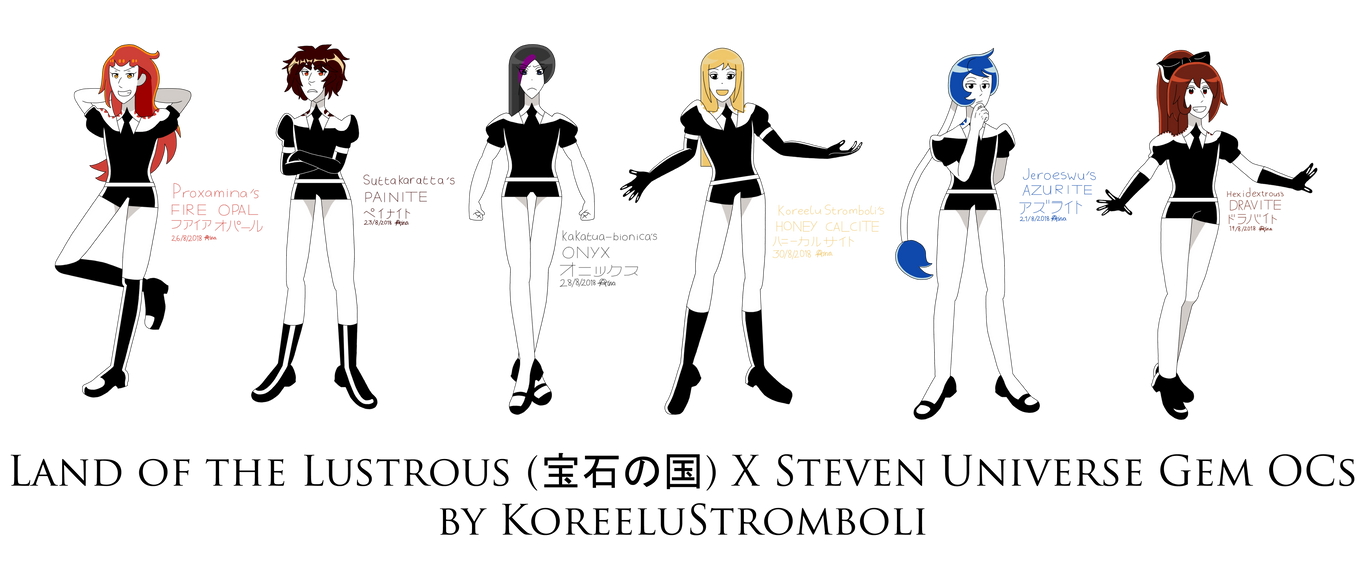 Land of the Lustrous X Steven Universe Gem OCs by KoreeluStromboli
