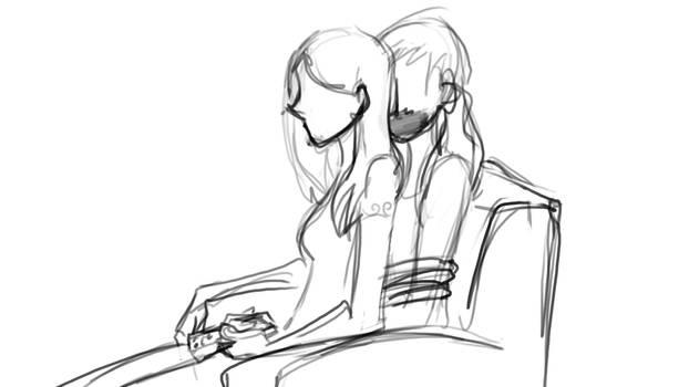 Faith Sitting On Buffy Sketch[1]