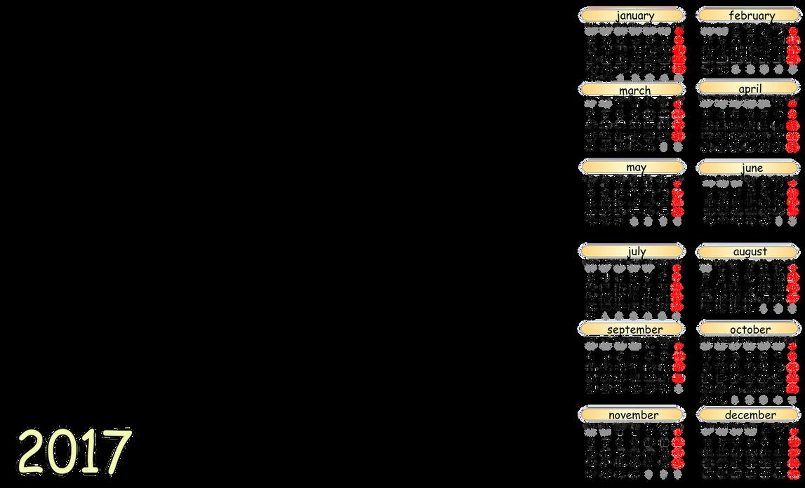 2017 calendar template english 6 by akatsukikarasu on deviantart. Black Bedroom Furniture Sets. Home Design Ideas