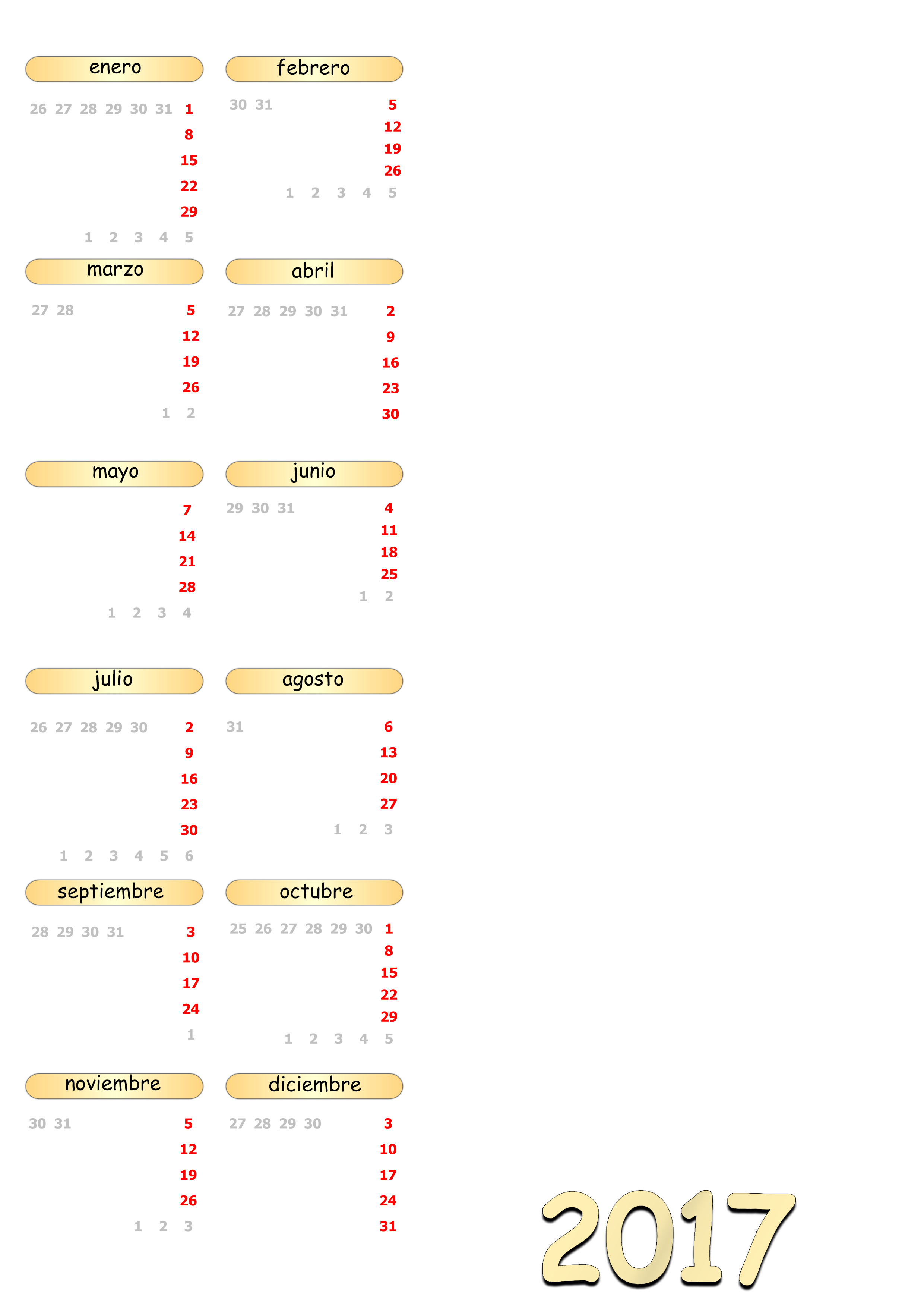 Calendarios 2017 - Plantillas PSD-PNG by AkatsukiKarasu on DeviantArt