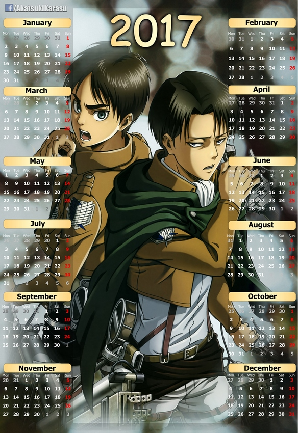 2017 Anime Calendar Attack On Titan (13) (Eng-Spa) by AkatsukiKarasu ...