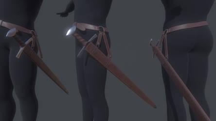 Medieval Sword with belt and Sheath by MirceaPrunaru