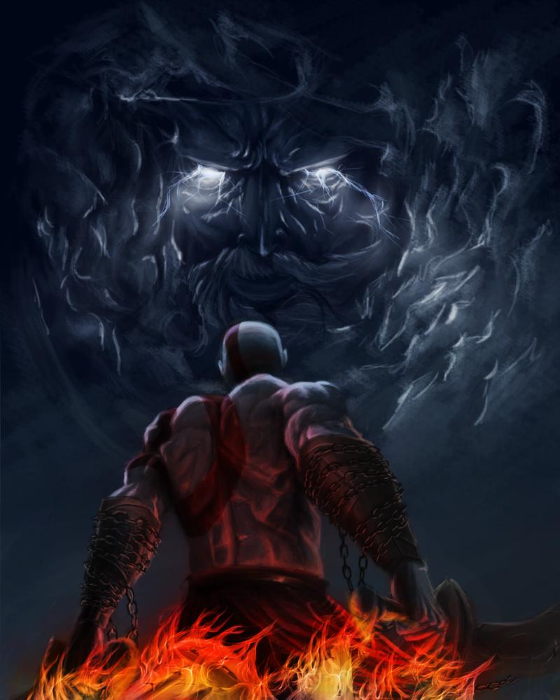 Kratos vs Zeus by Asge... Zeus Digital Painting
