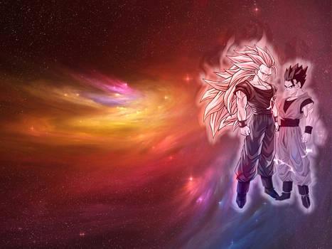 Goku SSJ3 (by unknown) and Mystic Gohan by Kidel