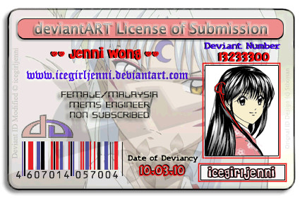 My personal deviant License by icegirljenni