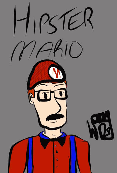 Hipster Mario by MostlyHandDrawn