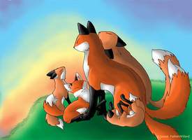 Fox Family by MagicKitsune