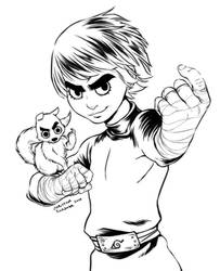 Rock Lee and Squirrel Lineart by curry23