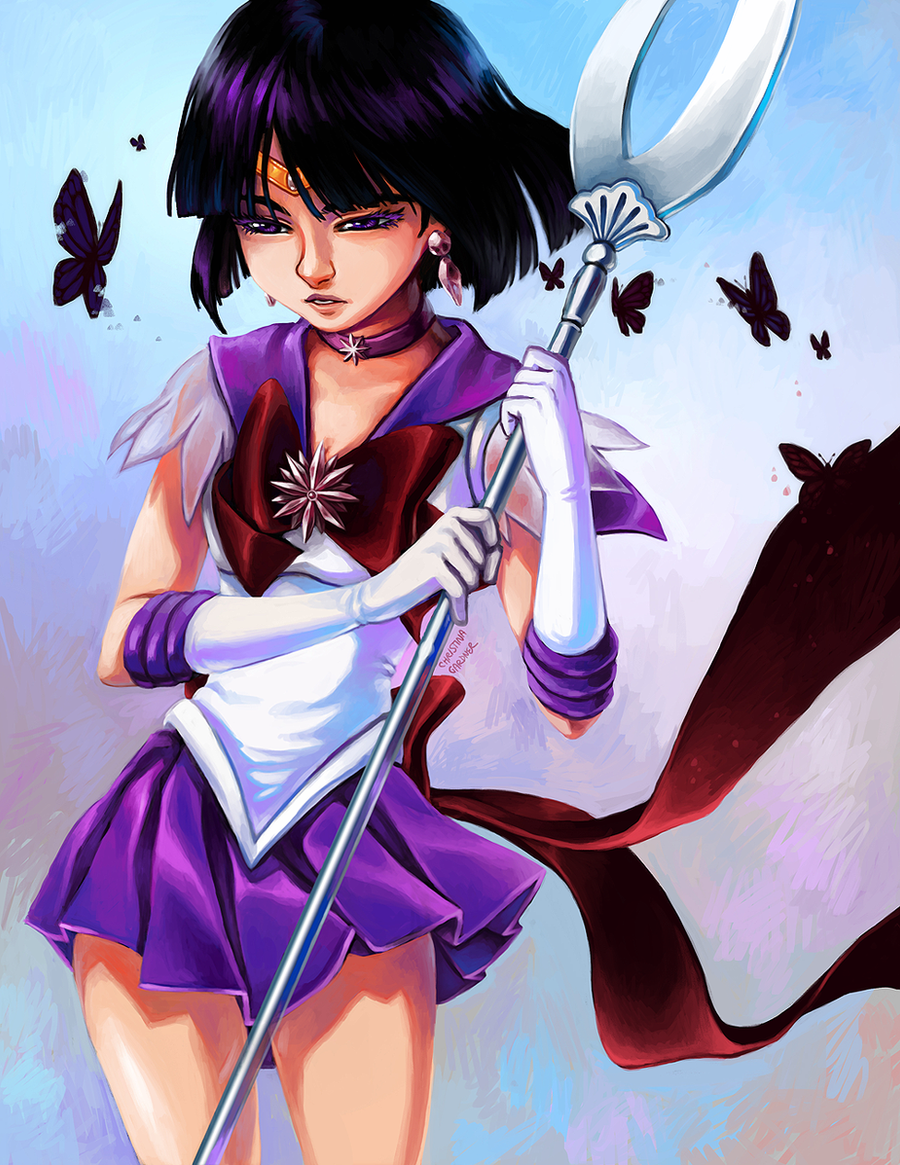 Sailor Saturn and the Butterflies by curry23