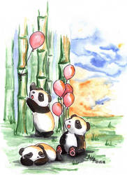 Bloons and Pandas by Florality