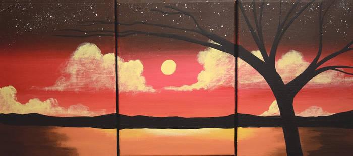 landscape triptych original painting on canvas