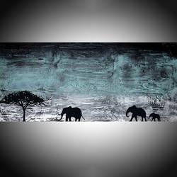 African Elephants In Turquoise Haze