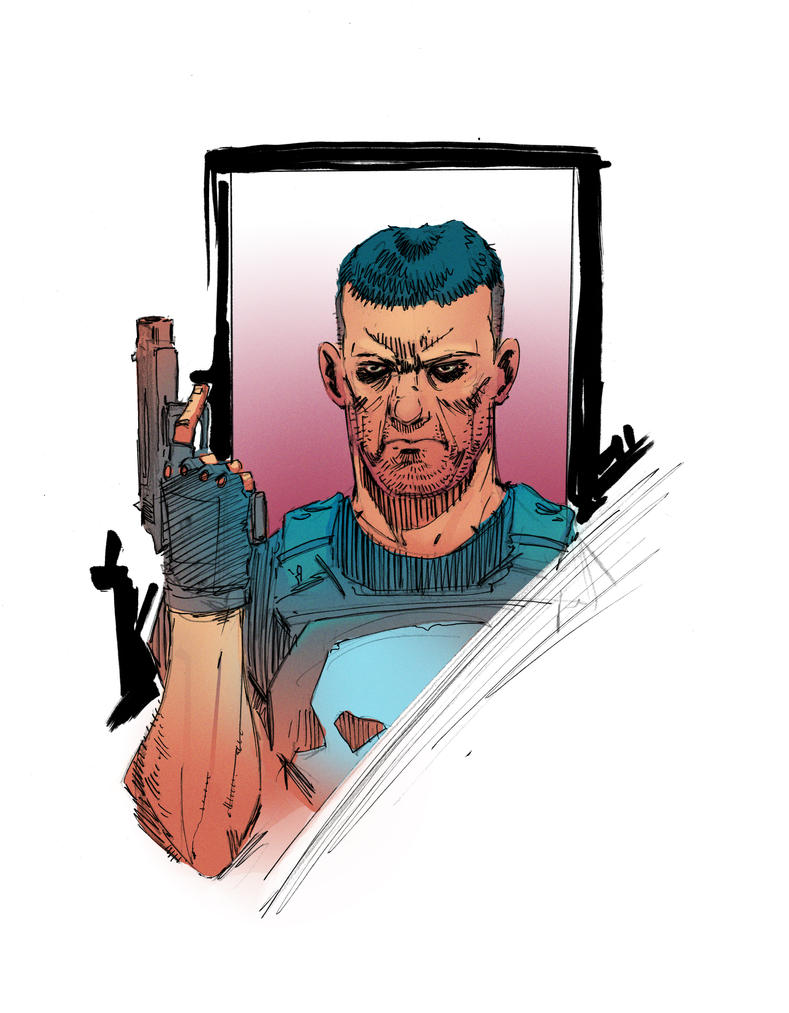 colored punisher sketch by Wes-StClaire