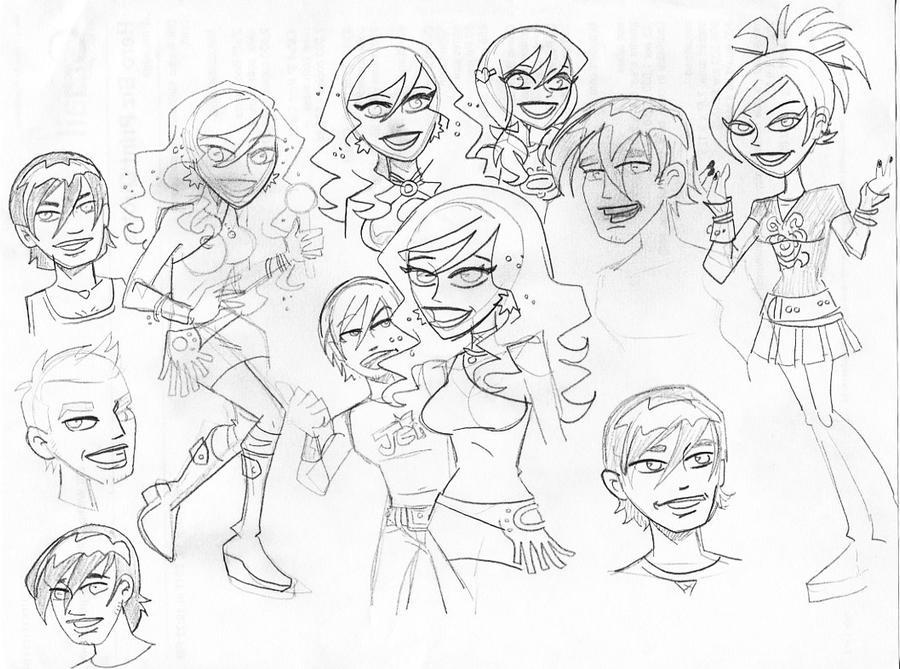 Jem Jam sketches 1 by BillWalko