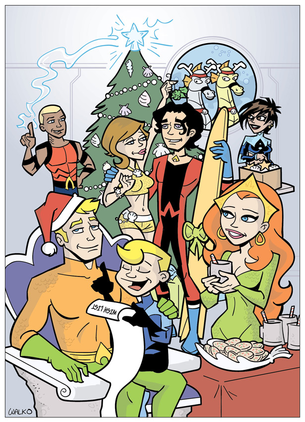 Aqua Family Christmas by BillWalko
