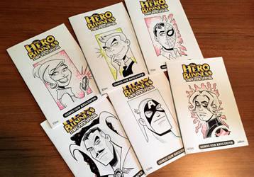 Hero Head Sketches Covers - 7-12 by BillWalko