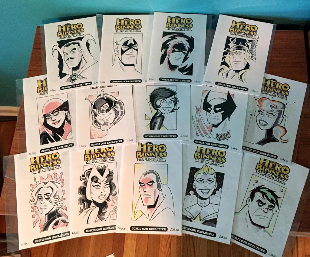 Hero Head Sketch Covers - Marvel by BillWalko