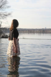 Girl on the Water Stock