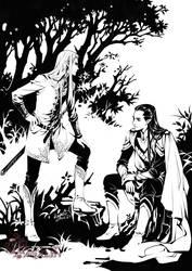 Thranduil/Elrond by kagalin