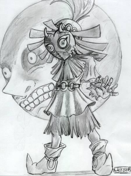 how to draw skull kid
